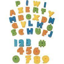 Lot de 37 Eponges tampons : 26 alphabet + 11 chiffres, pour peinture à l'eau ou gouache - Lot de 4