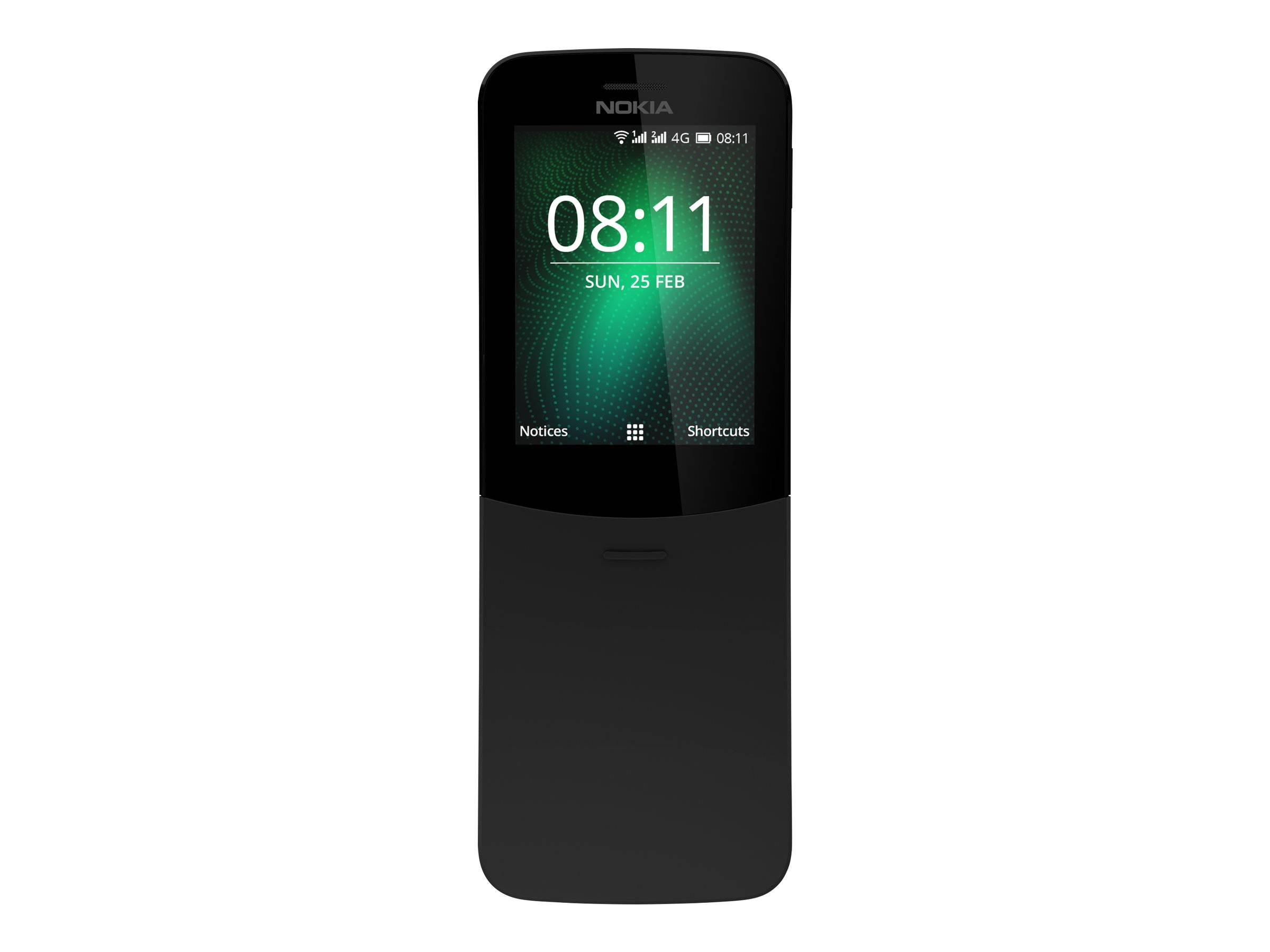 Nokia 8110 4G - Téléphone mobile - double SIM - 4G LTE - 4 Go - microSD slot - GSM - 320 x 240 pixels - RAM 512 Mo - 2 MP - KaiOS - noir