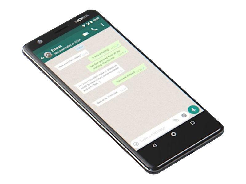 """Nokia 3.1 - Android One - smartphone - double SIM - 4G LTE - 32 Go - microSDXC slot - GSM - 5.2"""" - RAM 3 Go - 13 MP (caméra avant de 8 mégapixels) - Android - noir/chrome"""