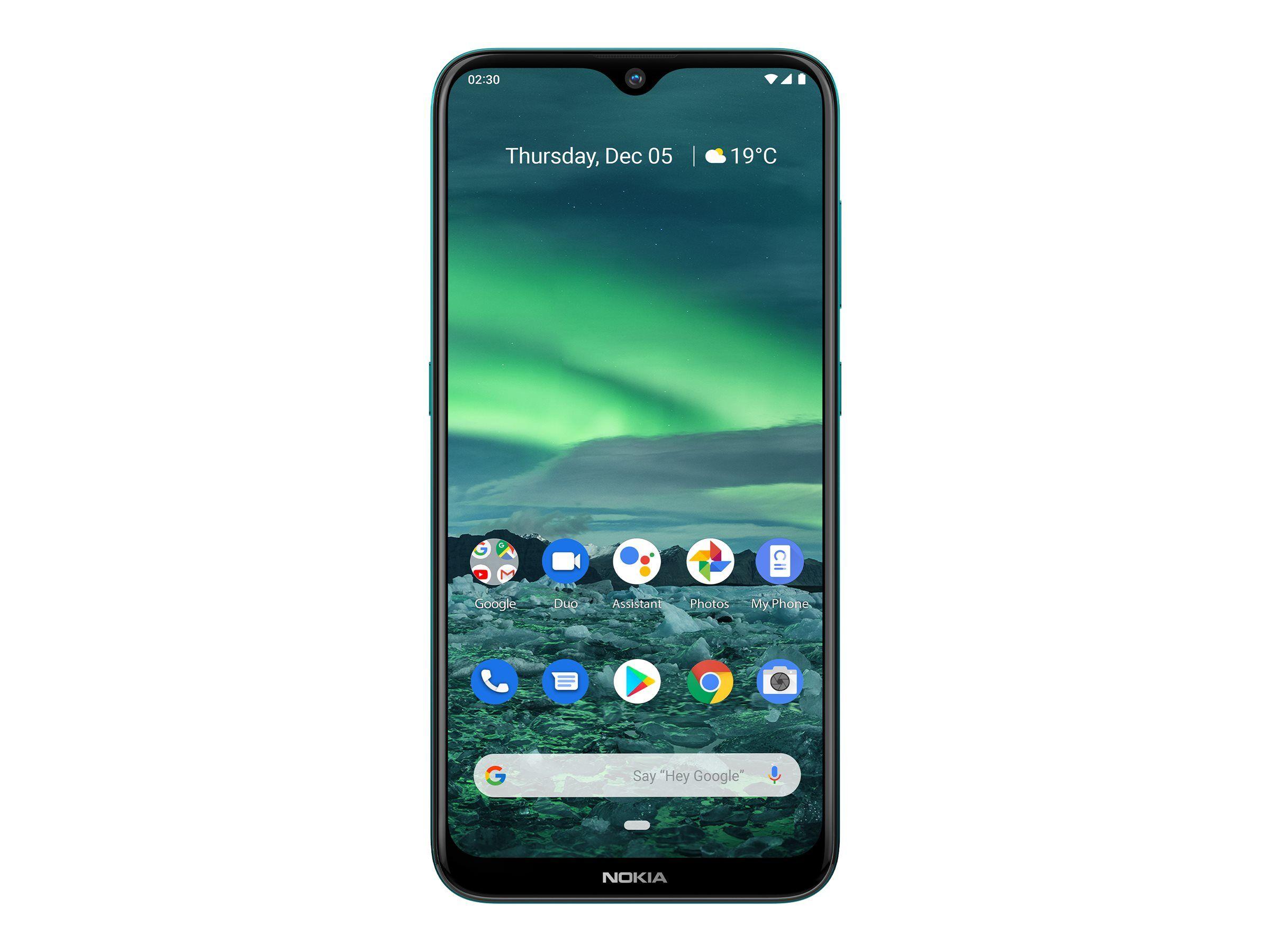 """Nokia 2.3 - Android One - smartphone - double SIM - 4G LTE - 32 Go - microSDXC slot - GSM - 6.2"""" - RAM 2 Go - 13 MP (caméra avant de 5 mégapixels) - Android - Vert cyan"""