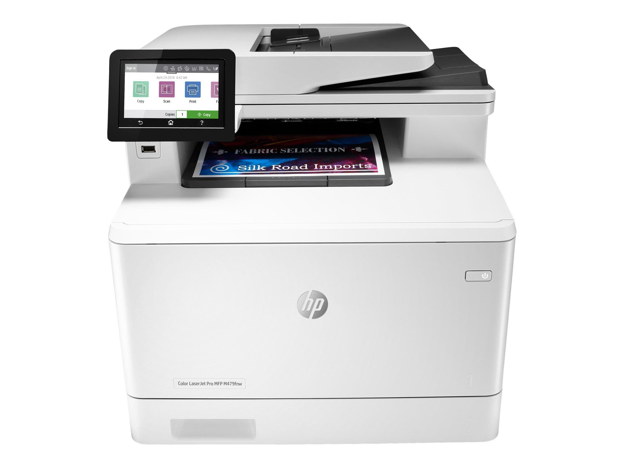 HP Color LaserJet Pro MFP M479fnw - Imprimante multifonctions - couleur - laser - Legal (216 x 356 mm) (original) - A4/Legal (support) - jusqu'à 27 ppm (copie) - jusqu'à 27 ppm (impression) - 300 feuilles - 33.6 Kbits/s - USB 2.0, LAN, Wi-Fi(n), h