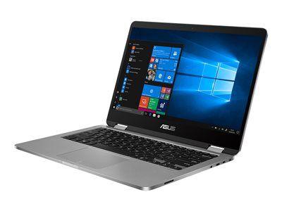 "Asus VivoBook Flip 14 TP401MA BZ148T - Conception inclinable - Pentium N5000 / 1.1 GHz - Windows 10 in S mode 64-bit - 4 Go RAM - 128 Go SSD - 14"" écran tactile 1366 x 768 (HD) - UHD Graphics 605 - 802.11ac, Bluetooth - gris clair"
