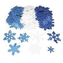 Pack de 240 Flocons de neige en mouse EVA pailletée 3 Assortis, 3 tailles D2,5/5/6 cm, épais 2mm - Lot de 2