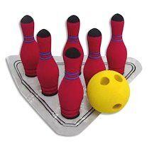 Jeu Bowling en mousse de caoutchouc, 6 quilles H17 cm, 1 boule D9,5 cm, 1 tapis repère