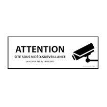 Panneau d'information - ATTENTION Site sous vidéo-surveillance - avec décret  - 297 x 105 mm - Vinyle Souple Autocollant - Blanc - Lot de 2