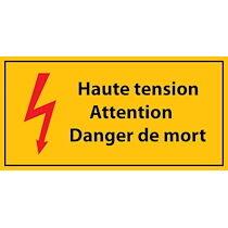 Panneau de Danger - Haute tension, Attention Danger de Mort - en Vinyle Souple  - 297 x 105 mm - Lot de 3