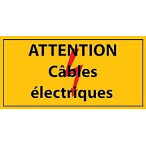 Panneau - attention câbles électriques - Vinyle autocollant  - 297 x 148 mm - Lot de 2