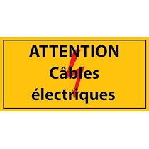 Panneau - Attention câbles électriques - PVC  - 400 x 200 mm