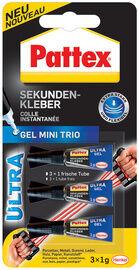 Pattex Colle instantanée Ultra Gel Mini Trio, 3 tube de 1 g - Lot de 4