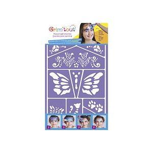 Oz international Lot de 4 pochoirs maquillage thème pirate, chevalier, jungle, chat et papillon, conte de fées - Publicité