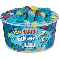 Haribo Bonbons gélifiés LES SCHTROUMPFS, boîte ronde de 150 - Lot de 2