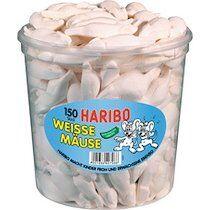 Haribo Bonbons gélifiés aux fruits SOURIS BLANCHES, 150 pcs - Lot de 2