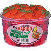 Haribo Bonbons gélifiés aux fruits FRAISES GÉANTES, 150 pcs - Lot de 2