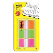 Post-it Marque-pages Index, 25,4 x 43,2 mm, 3 couleurs - Lot de 4