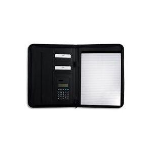 Conférencier A4 polyuréthane. Divers rangements, calculatrice, porte-bloc A4. Coloris noir - Publicité