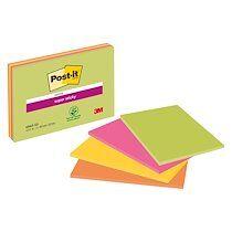 Post-it Notes unies couleurs néon Super Sticky Post-it 203 x 152 mm - bloc de 45 feuilles - Lot de 12