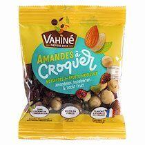 Vahiné Fruits secs Amandes à croquer Noisettes et Cranberries Vahiné -Sachet de 35 gr - Lot de 48