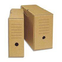 Produit neutre Boîte archives écologique dos 15 cm. Montage manuel. Carton brun. - Lot de 25