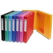 Exacompta Boîte de classement EXABOX en carte lustrée 7/10e. Dos de 2,5 cm. Coloris assortis - Lot de 8