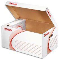 Esselte Conteneur à archives carton Esselte H 27,5 x L 56 x P 36,5 cm, ouverture sur le dessus, blanc - Lot de 10