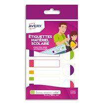 Avery Boîte de 24 étiquettes plastifiées. 3 formats assortis. Coloris assortis fluorescents - Lot de 4