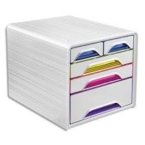 Cep Module de classement SMOOVE Multicolore, 3 tiroirs 24 x 32 cm + 2 petits, L36 x H27,1 x P28,8 cm