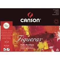 Canson Bloc 10 feuilles peinture à l'huile, collées 4 côtés FIGUERAS, 24x33, 290G, grain toile Blanc