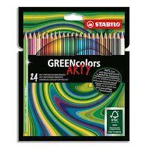 Stabilo Etui carton 24 Crayons de couleur GREENcolors ARTY, corps fin hexagonal, bois, Mine 3 mm,assortis - Lot de 3