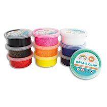 Pack de 10 Pâte à modeler autodurcissante Balls Clay 40g coloris assortis - Lot de 2