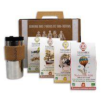 Coffret de 4 étuis de 15 capsules de Café bio, biodégradables + 1 travel Mug
