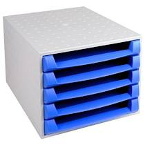 Exacompta THE BOX ouvert - Gris lumière/bleu glacé