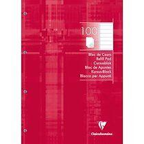 Bloc de cours encollé grand côté 21x29,7cm 200 pages détachables perforé 4 trous ligné Rouge framboise - Rouge framboise - Lot de 5