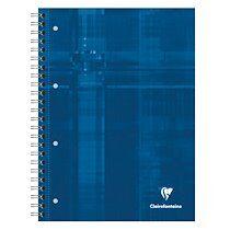 Bind'O Block cahier reliure intégrale A4+ 160 pages détachables perforé 4 trous petits carreaux + marge et cadre en-tête 4 couleurs de bandes Bleu - Bleu - Lot de 5