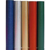 Clairefontaine Unicolor, Kraft brun 60g, 2x0,70m en carton prés. de 60 rlx Couleurs ass. - Or/argent/rouge/vert sapin - Lot de 60