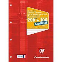 Bloc de cours encollé grand côté A4 200 pages détachables + 100 GRATUITES perforé 4 trous ligné + marge Bleu gris - Rouge - Lot de 12
