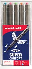 Uni-ball stylo roller eye fine UB-157, étui de 5, assortis - Lot de 3