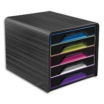 Cep Module de classement SMOOVE Noir multicolore, 5 étages, format 24 x 32 cm, L36 x H27,1 x P28,8 cm