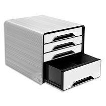 Smoove by cep Module de classement SMOOVE Blanc/Noir, 3 tiroirs standard + 1 tiroir maxi, L36 x H27,1 x P28,8 cm