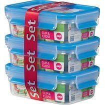 Emsa Boîte de conservation CLIP & CLOSE kit de 3, 1,0 l bleu - Lot de 2