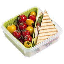 Emsa Boîte à goûter CLIP & GO, 0,85 L, transparent / vert - Lot de 2