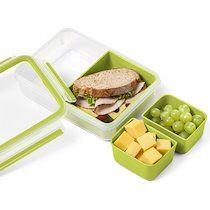 Emsa Boîte pour goûter CLIP & GO, 1,0 L, transparent / vert - Lot de 2