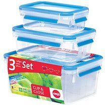 Emsa Boîte de conservation CLIP & CLOSE, kit de 3 pièces - Lot de 2