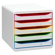 Exacompta Module de classement Exacompta Big Box Plus Arlequin blanc 5 tiroirs multicolores