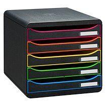Exacompta Module de classement Exacompta Big Box Plus Arlequin noir 5 tiroirs multicolores