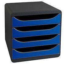 Exacompta Module de classement BIG-BOX, 4 tiroirs,bleu royal