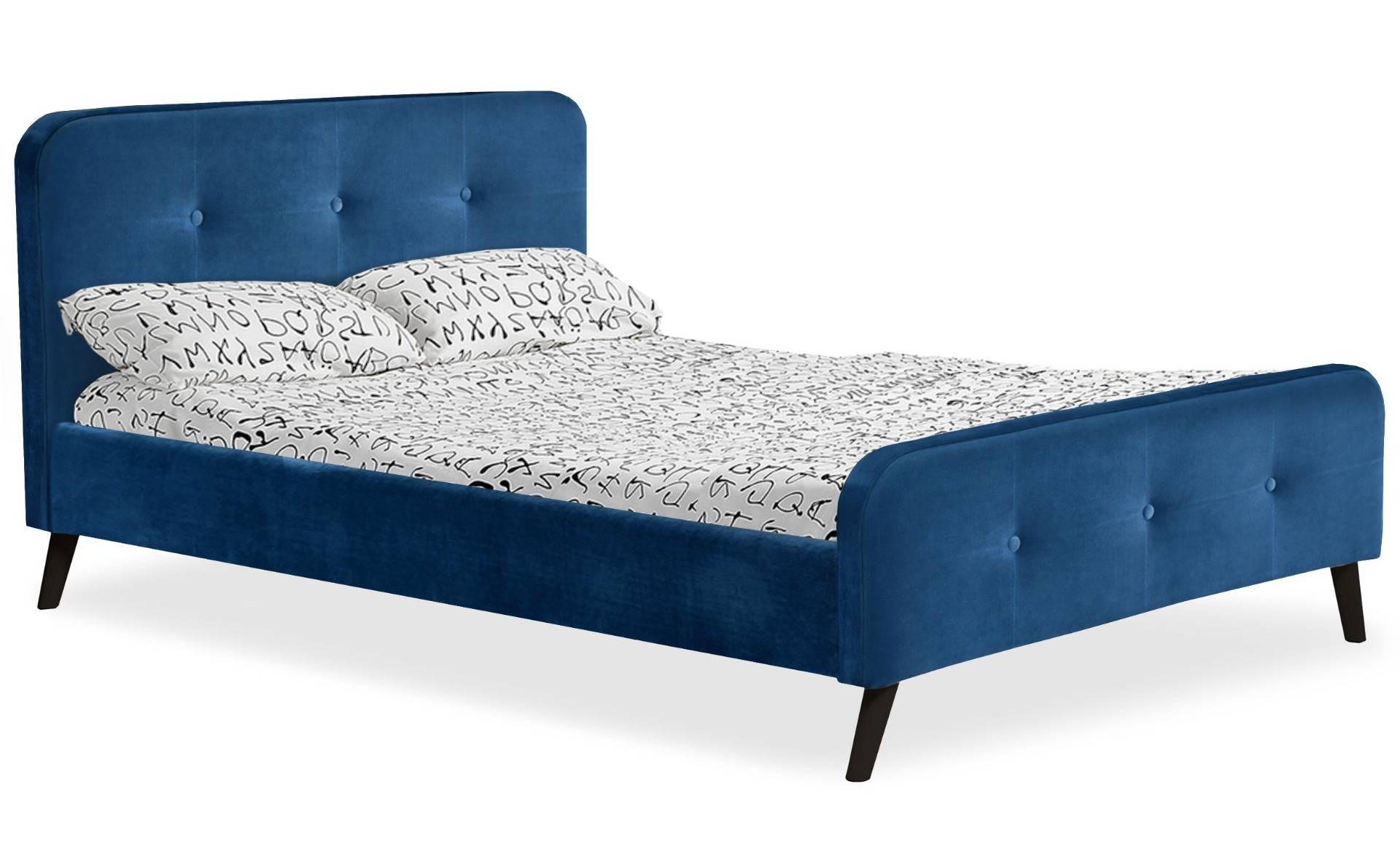 MENZZO Lit scandinave avec tête de lit et sommier 140x190cm Delano Velours Bleu