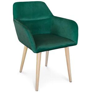 MENZZO Chaise / Fauteuil scandinave Fraydo Velours Vert - Publicité