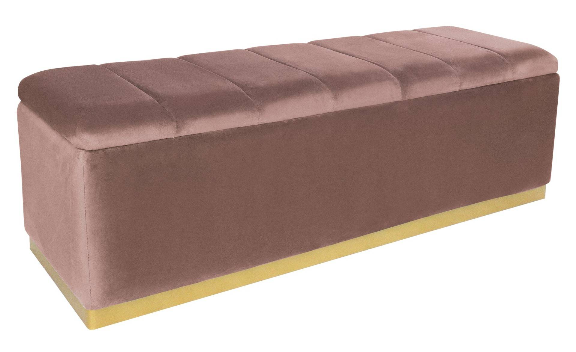 MENZZO Banc coffre Alexandrie Velours Rose Pied Or