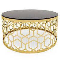 MENZZO Table basse Coralie en Verre Noir et pieds Or <br /><b>239 EUR</b> Menzzo