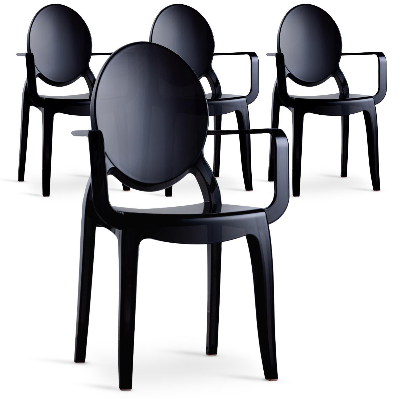 MENZZO Lot de 4 chaises Sofiane Polycarbonate Noir fumé
